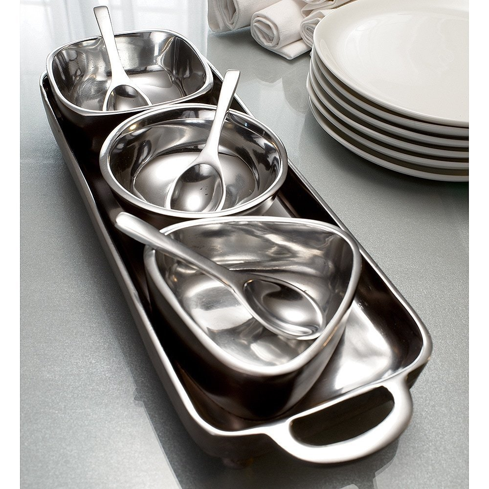 KINDWER 7-Piece Tray and Dip Bowl Condiment Server Set w/Spoons on Silver Sampler Serving Tray
