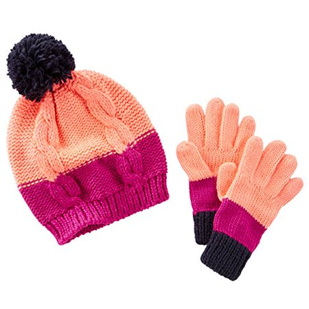 OshKosh B'gosh Little Girls' Color Block Knit Hat & Gloves Set (4-6X, Pink - Oshkosh Hat
