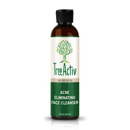 TreeActiv Acne Eliminating Face Cleanser, Natural Facial Treatment Cleansing Skin Wash, Castile Soap, Sulfur, Charcoal, Vitamin C, Peppermint, Men Women Teens, Sensitive, Unscented, 8 fl