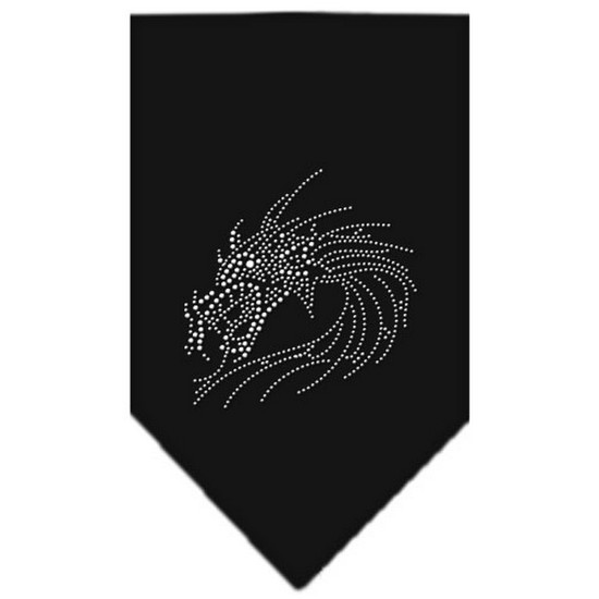 Dragon Rhinestone Bandana Black Large