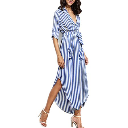 Striped Belted Shirt Dress - Women Adjustable Long Sleeve V-neck Striped Belted Shirt Dress