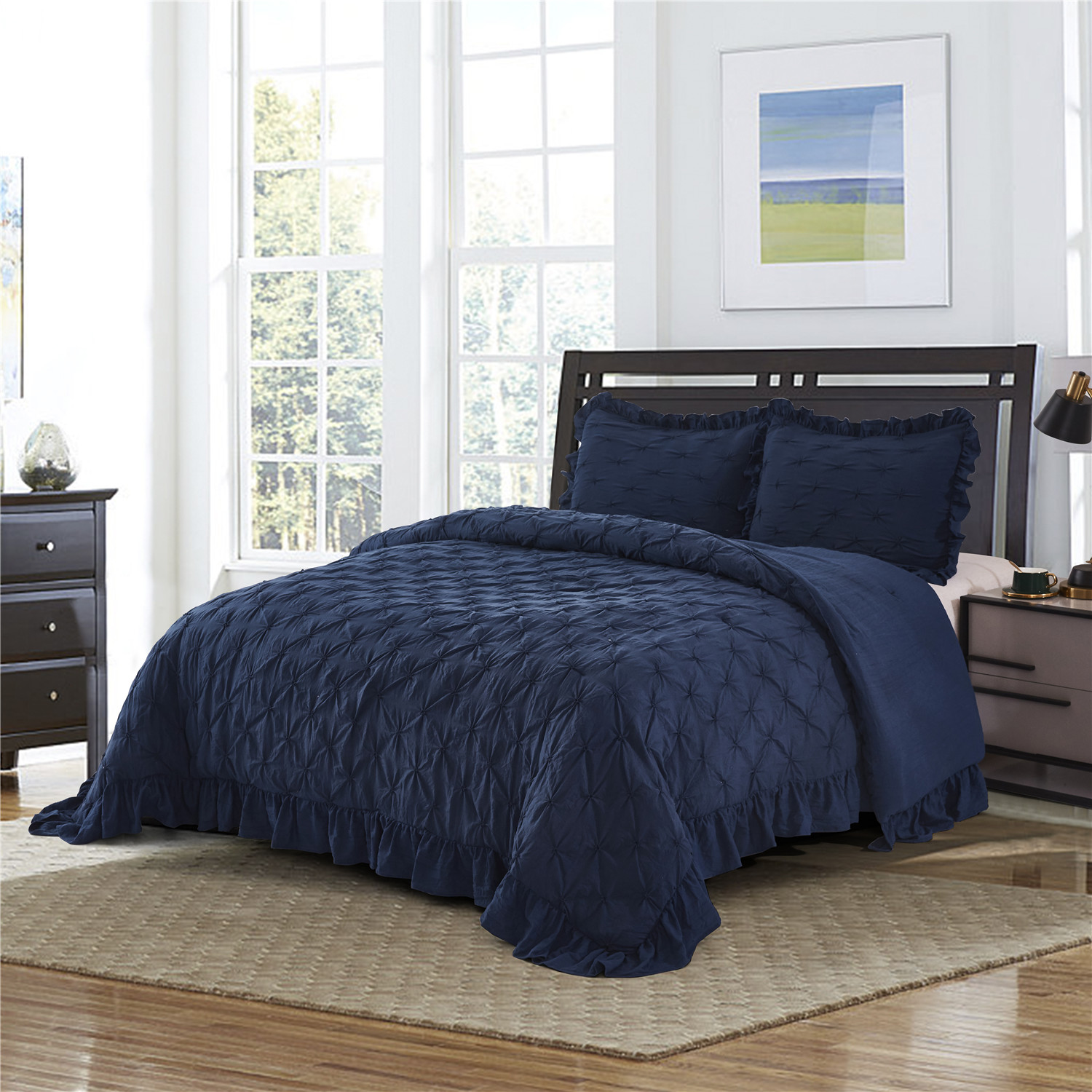 3 Piece Pinch Pleated Navy Blue Comforter Set King Pintuck Ruffled Super Soft Hypoallergenic Prewashed Microfiber Shabby Chic Farmhouse Style Bedding Jk Brianna King Navy Walmart Com Walmart Com