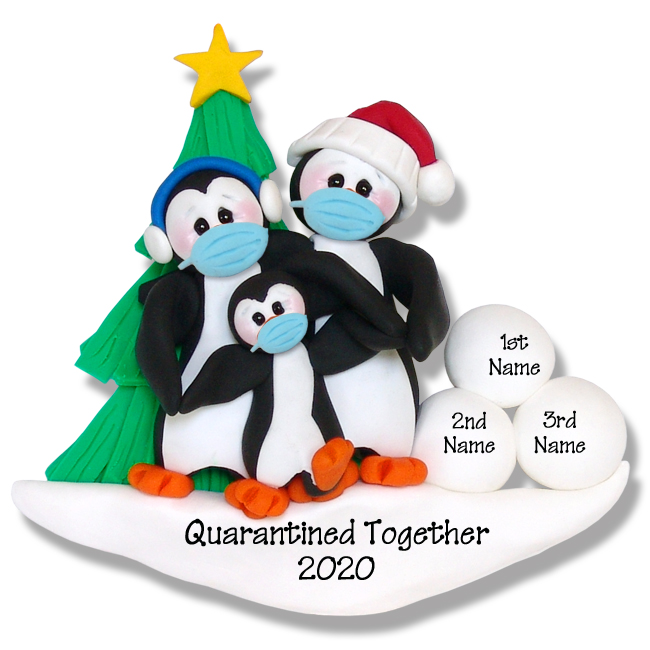 Penguin Family of 3 Personalized Ornament HANDMADECorona Virus Pandemic Polymer Clay Ornament Personalized Covid-19 Ornament