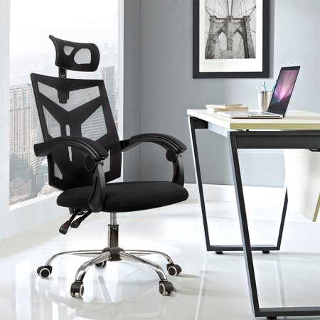 Ergonomic Computer Desk Chair Black Mesh Office Chair Swivel Task Chair 90°~135° Reclining with Height Adjustable Headrest Backrest