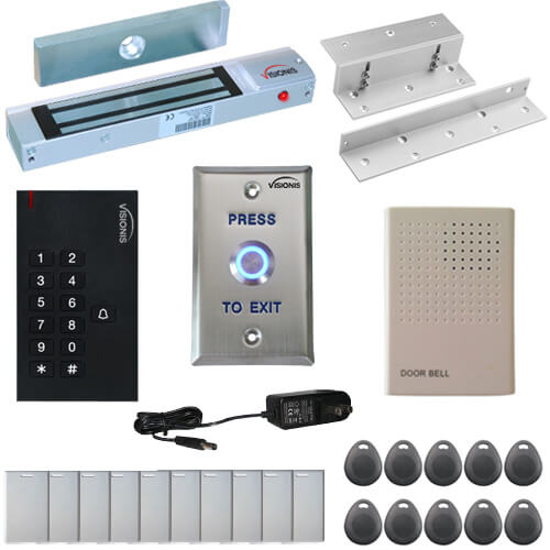 Visionis FPC-5323 One Door Access Control In Swinging Door 300lbs Maglock with VIS-3002 Indoor Use Only Keypad / Reader Standalone No Software EM Card Compatible 500 Users Kit