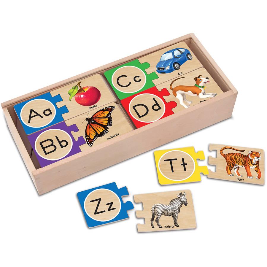 Melissa & Doug Self-Correcting Alphabet Wooden Puzzles With Storage Box (52 pcs) by Melissa & Doug