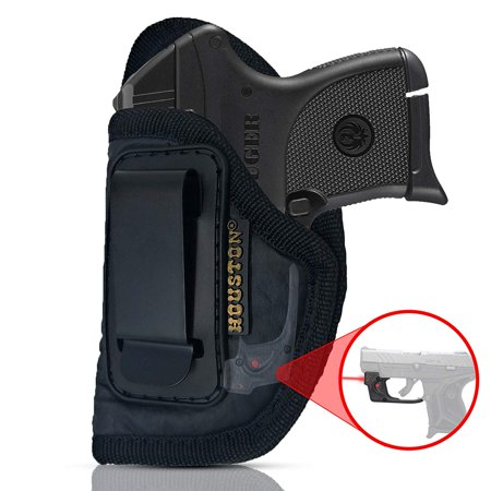 IWB Gun Holster by Houston - ECO LEATHER Concealed Carry Soft Material | Suede Interior | Fits: ANY SMALL 380 WITH LASER, Keltec, Ruger LCP, Diamond Back, Small 25 & 22 CAL (left)