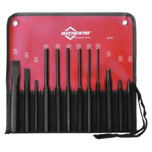 Mayhew Punch and Chisel Set, Steel, 66260