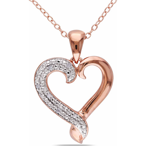 Miabella Diamond Accent Pink Rhodium over Sterling Silver Heart Pendant, 18""