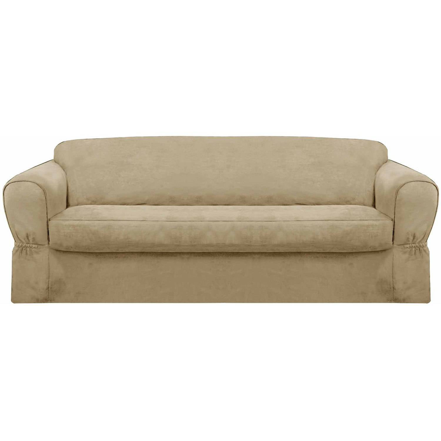Maytex Piped Faux Suede Non Stretch 2 Piece Sofa Slipcover