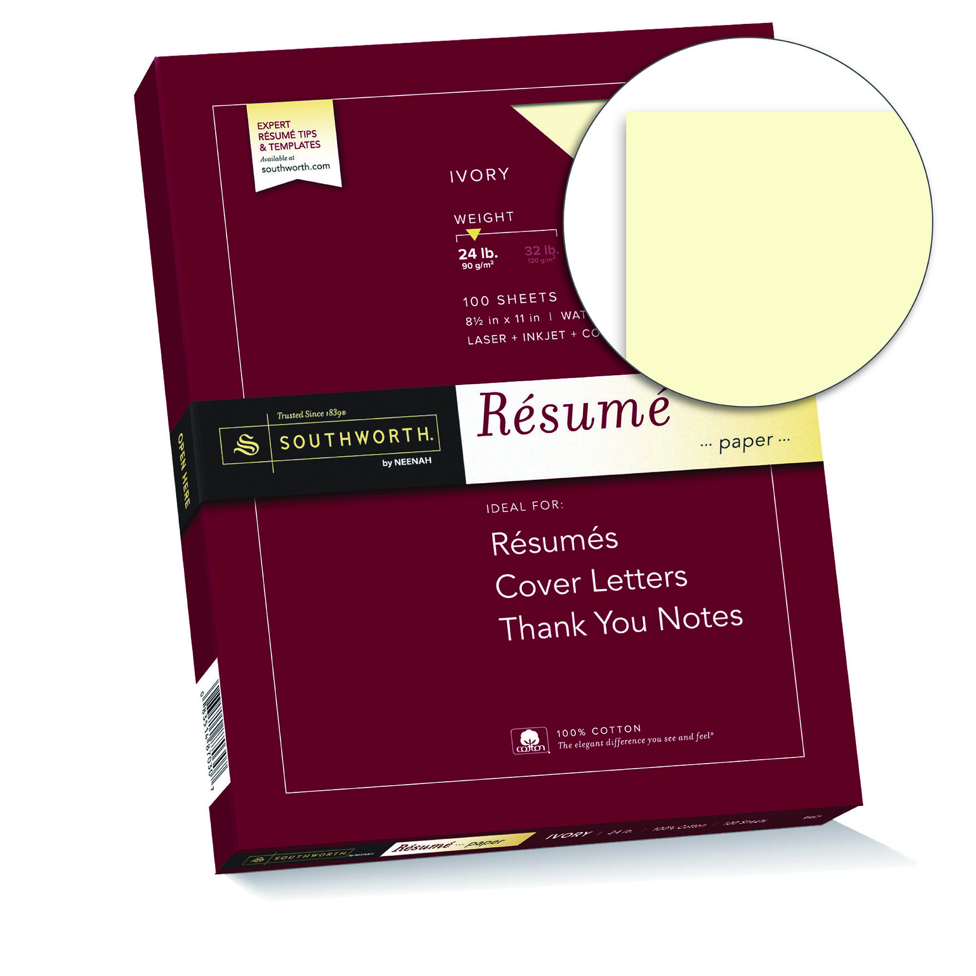 "Southworth 100% Cotton Resume Paper, 8.5"" x 11\"