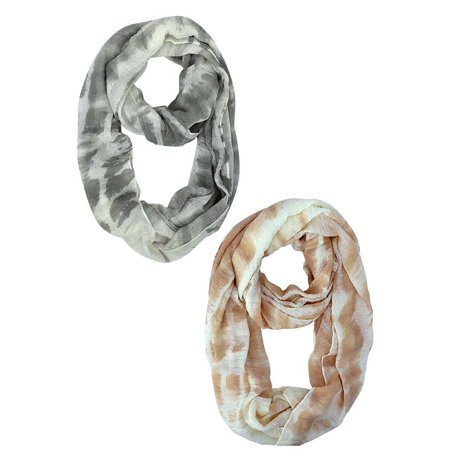 (Peach & Gray Tie-Dye Colorful Infinity Fashion Scarf 2-Pack Set)