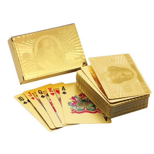 American Coin Treasures Ben Franklin 24 Kt Gold Foil Playing Cards