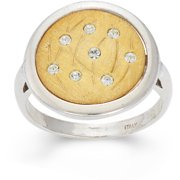 Crystal Accent 14kt Gold-Plated Sterling Silver Matte-Finished Grass Pattern White Polished Frame Round Ring
