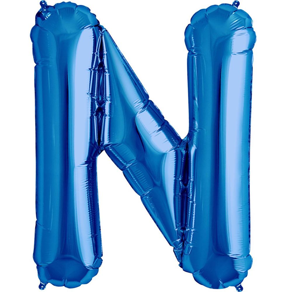 """Giant Blue Letter N Foil Balloon 32"""""""