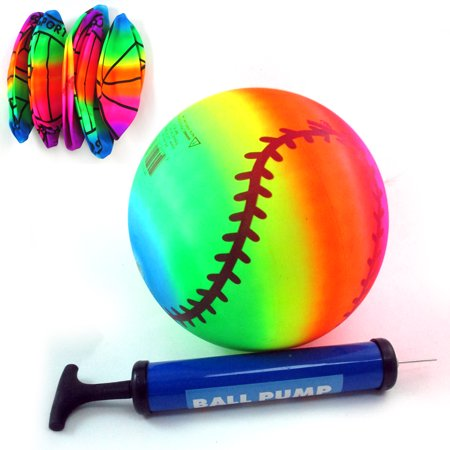1 Rainbow PVC Ball Inflatable Sport Bounce Kick Classic Beach Football Pool Lake - Beach Ball Classic