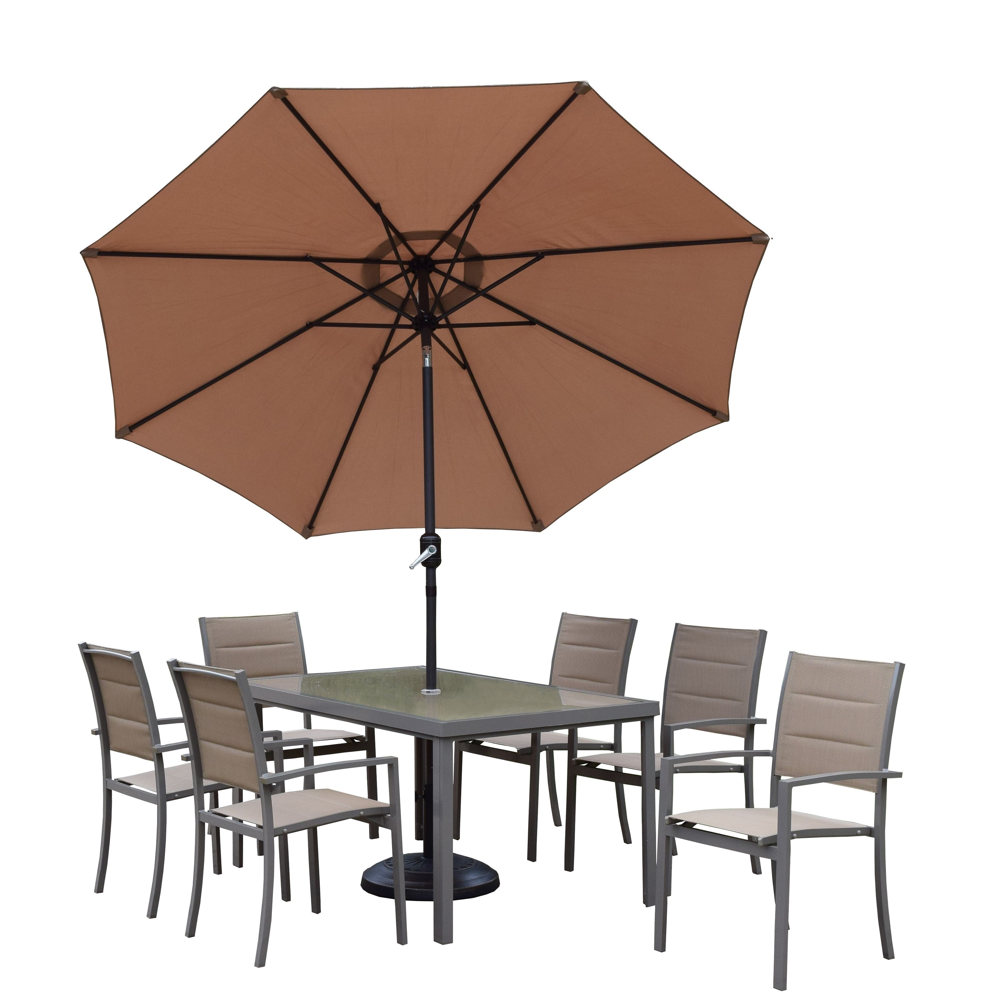 Oakland Living Corporation Padded Sling Set with Glass Table, 6 Chairs, 9 ft Umbrella and Stand
