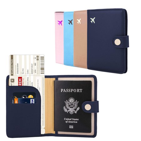 Passport Holder Cover Wallet RFID Blocking Leather Card Case Travel Document (Leather Document Case)