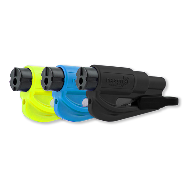 resqme - Quick Car Escape Tool. Seatbelt Cutter & Window Breaker - Black, Blue, Neon Pack of 3