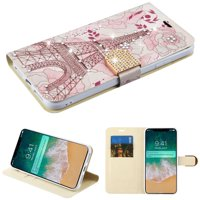 """Kaleidio Case For Apple iPhone XS Max (6.5"""") [Flip Jacket] Hybrid Wallet [Card Slot] [Diamante Strap] Carrying Skin Cover & Kickstand Feature w/ Overbrawn Prying Tool [Eiffel Tower]"""