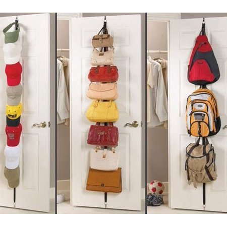 Adjustable Over Door Straps Hanger Clothes Rack Organizer With 8 Hooks , Bag Hanger ,Handbag Organizer, Purse Hanger, Hat Holder, Versatile