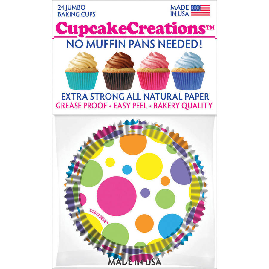 Jumbo Baking Cups, Rainbow Dots, 24pk