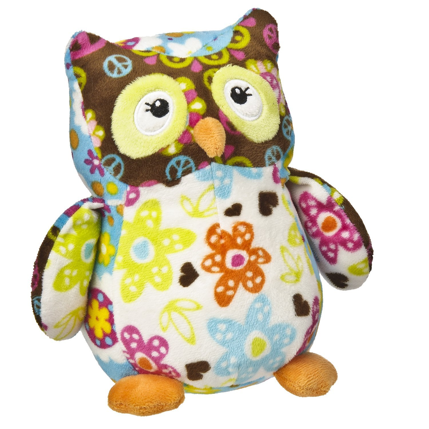 "Mary Meyer Peace Print Pizzazz  Olio Owl 7"" Plush, Multicolored"