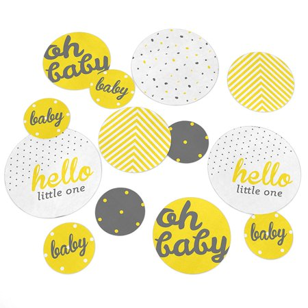 Hello Little One - Yellow and Gray - Neutral Baby Shower Party Table Confetti Set - 27 Count