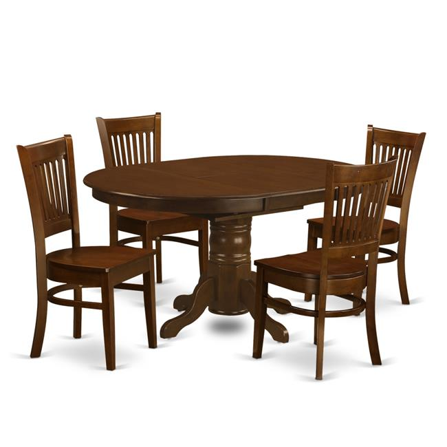 East West Furniture KEVA5-ESP-W Set Kenley Dining Table with One Leaf & 4 Wood Chairs, Espresso - 18 in. - 5 Piece