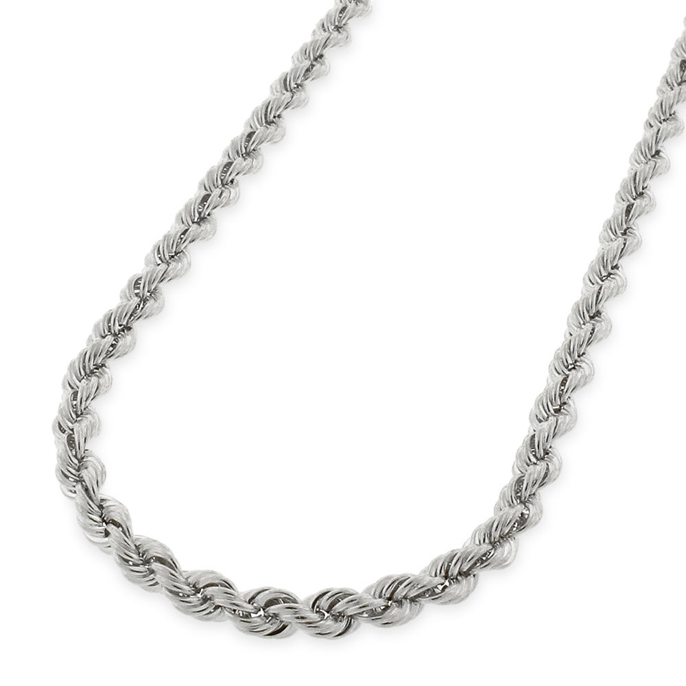 14k White Gold 3mm Solid Rope Diamond Cut Chain Necklace