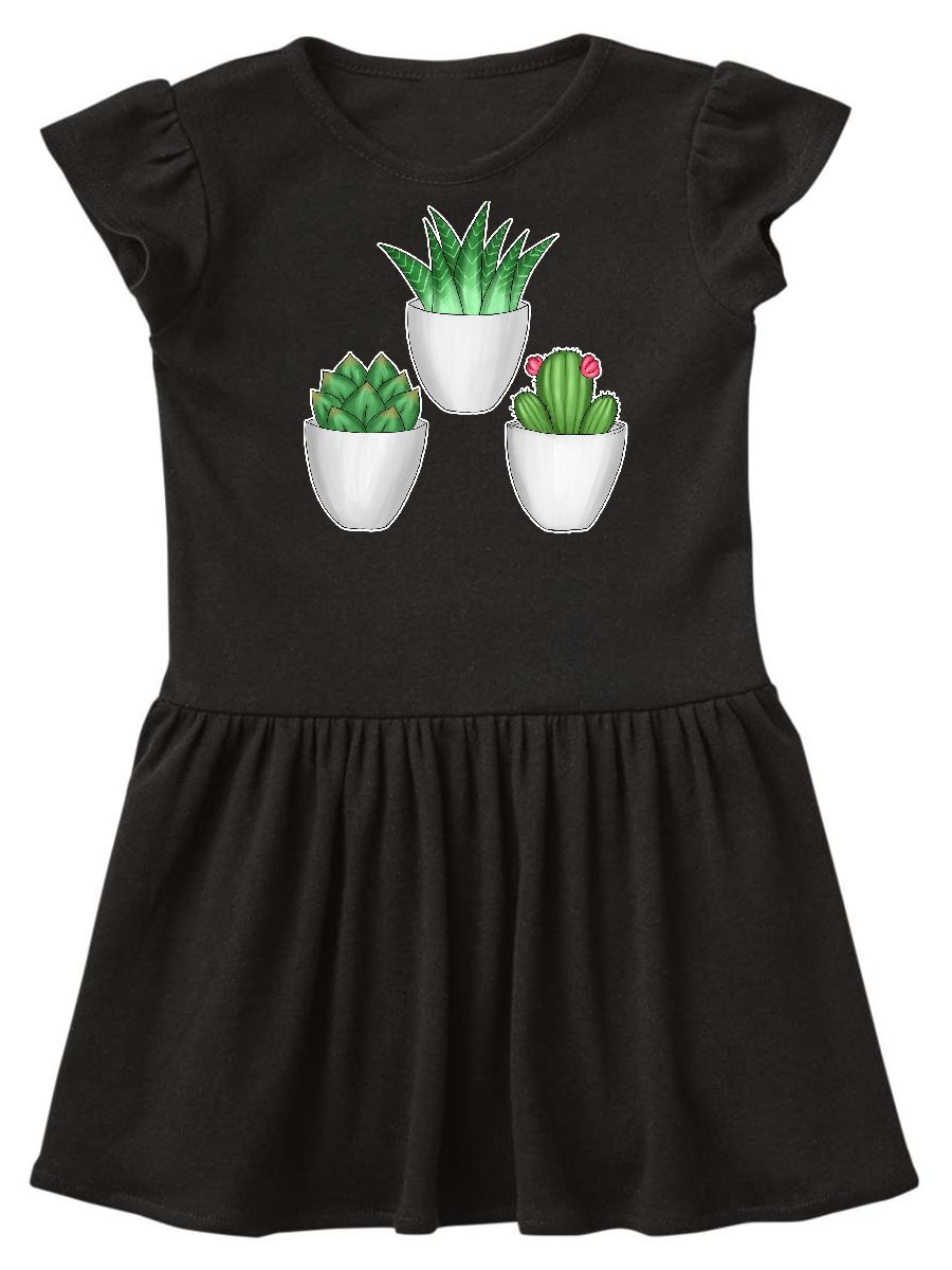 Succulents and Cactus Illustration Toddler Dress