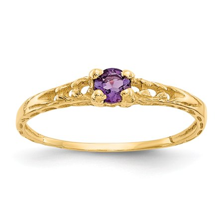 Amethyst Kids Ring (14k Yellow Gold Polished 3mm Amethyst for boys or girls Ring - Size)