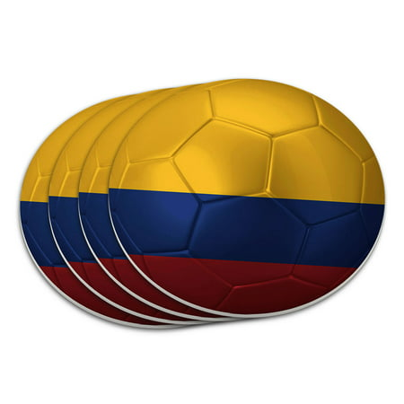 Colombia Flag Soccer Ball Futbol Football Coaster Set