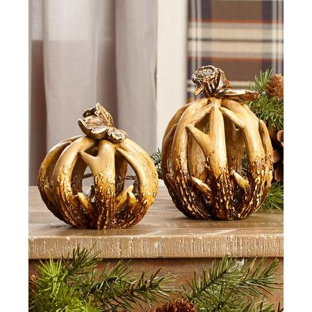 The Lakeside Collection Set of 2 Woodland Antler Harvest Pumpkins