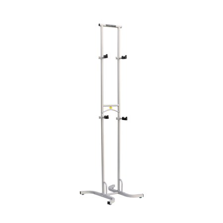 Sparehand Freestanding Adjustable Dual Bike Rack Storage System, Max Weight Limit 80 lbs., Pebble Silver - Pebble Finish