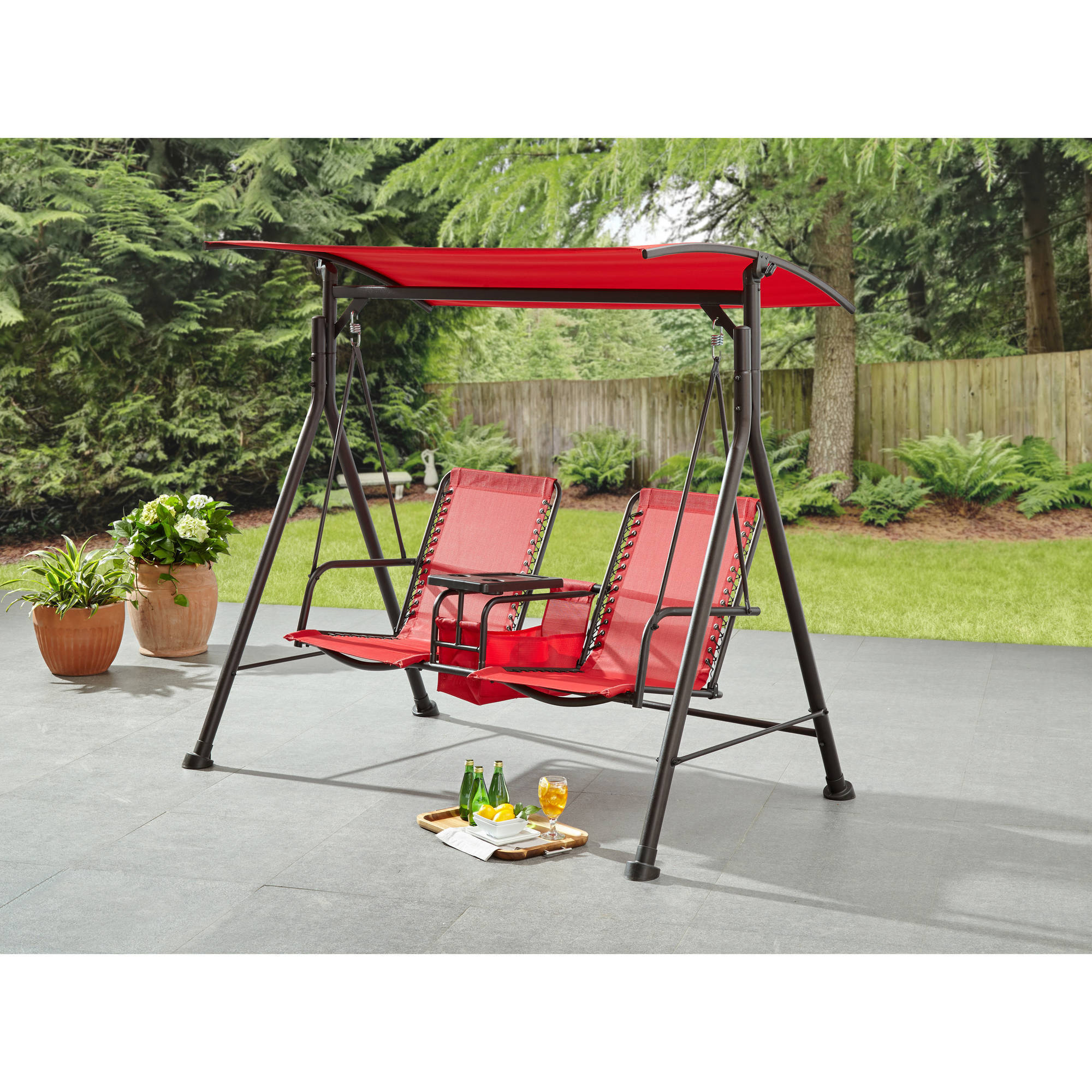 Mainstays Big And Tall 2 Person Bungee Canopy Porch Swing Walmart Com