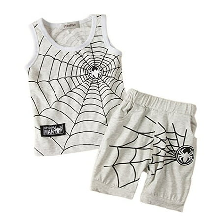 StylesILove Cartoon 2-pcs Baby Boy Tank Top and Shorts (12-18 Months, Light Grey)](Spider Outfit)