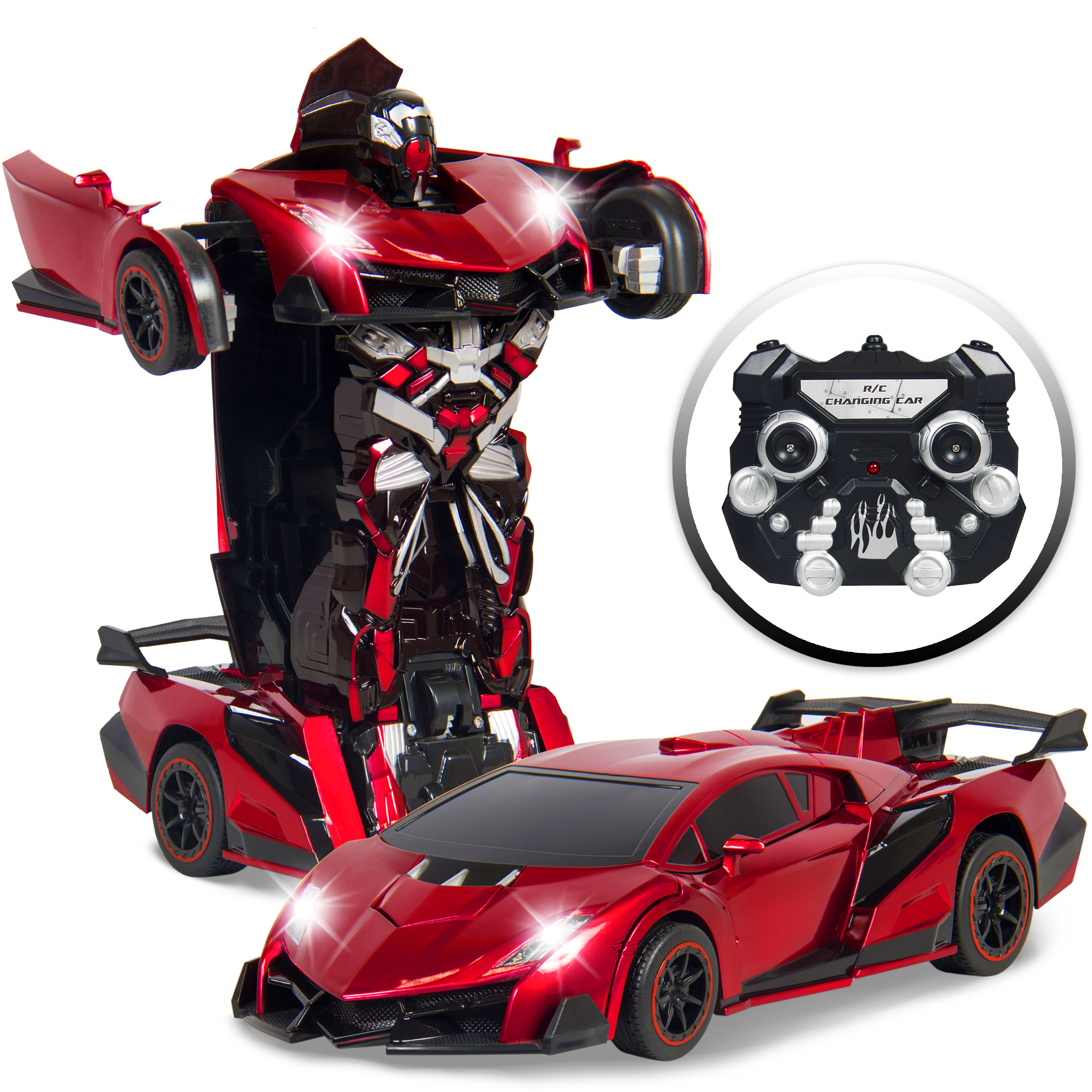 Best Choice Products Kids Toy Transformer RC Robot Car Remote Control Car (Red) by