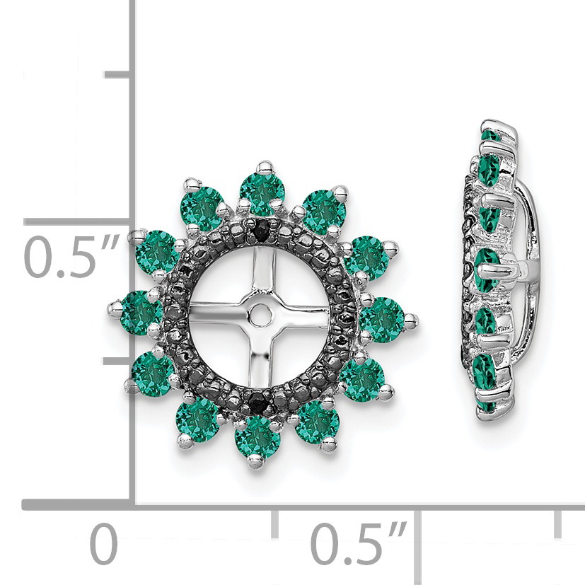 925 Sterling Silver Diamond Created Green Emerald Earrings Jacket Birthstone May Fine Jewelry Gifts For Women For Her