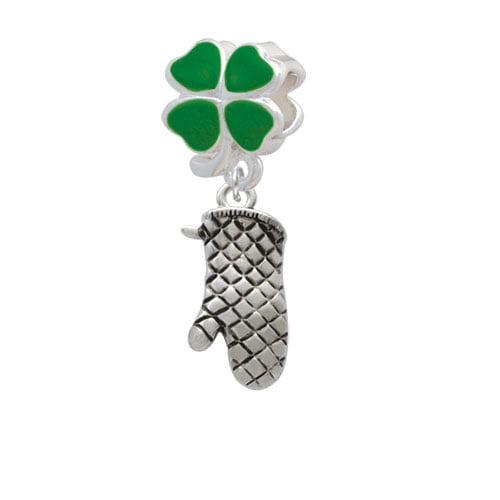 Oven Mitt - Green Four Leaf Clover Charm Bead