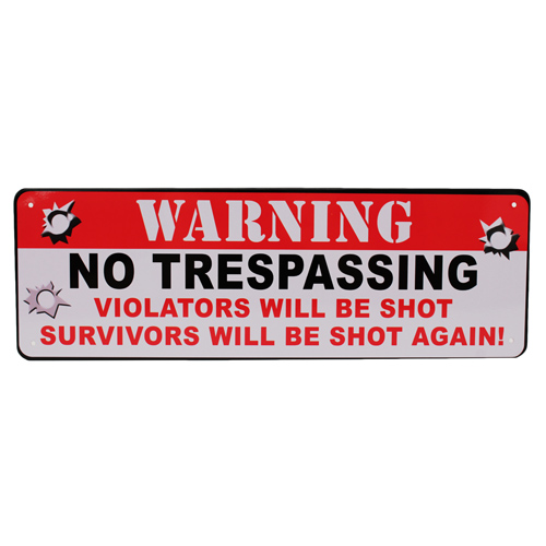 Warning No Trespassing Tin Sign 10.5x3.5""
