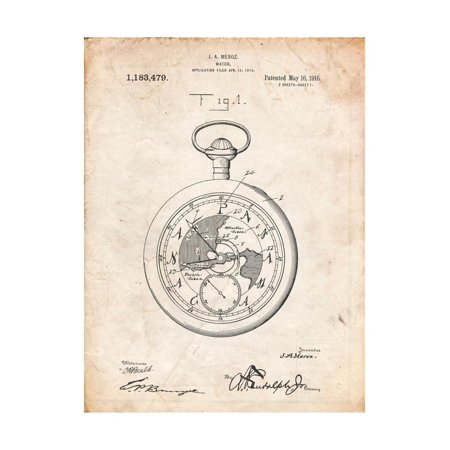 Pocket Watch Patent Print Wall Art By Cole Borders ()