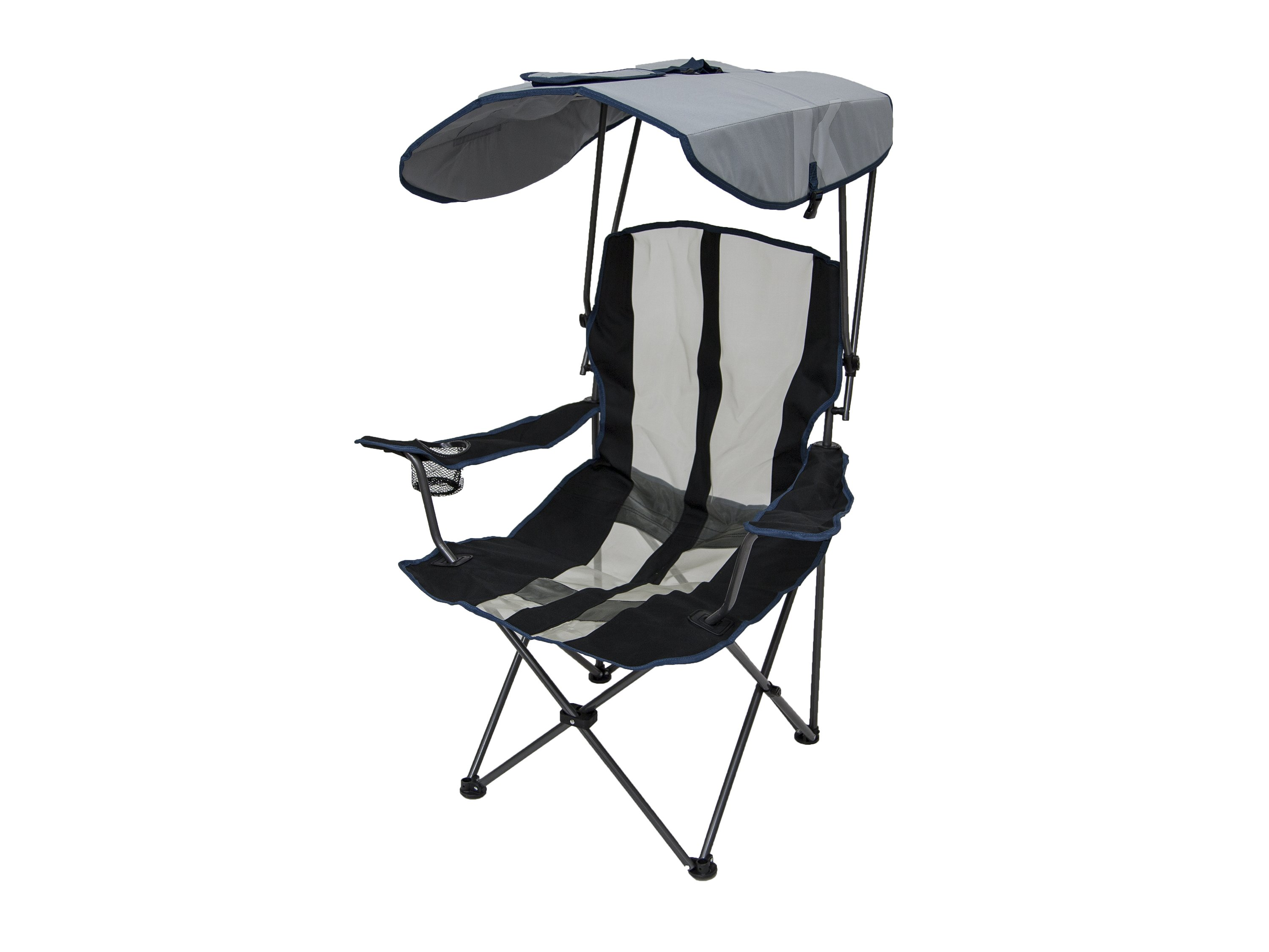 Kelsyus Premium Portable Camping Folding Lawn Chair W/ Canopy, Navy | 80188