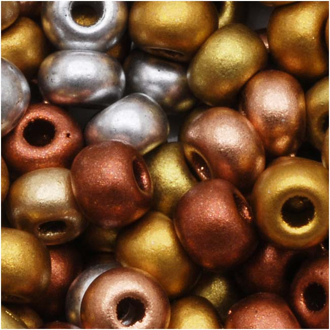 Czech Seed Beads 6/0  Supra Metallic Mixed (1 Ounce)