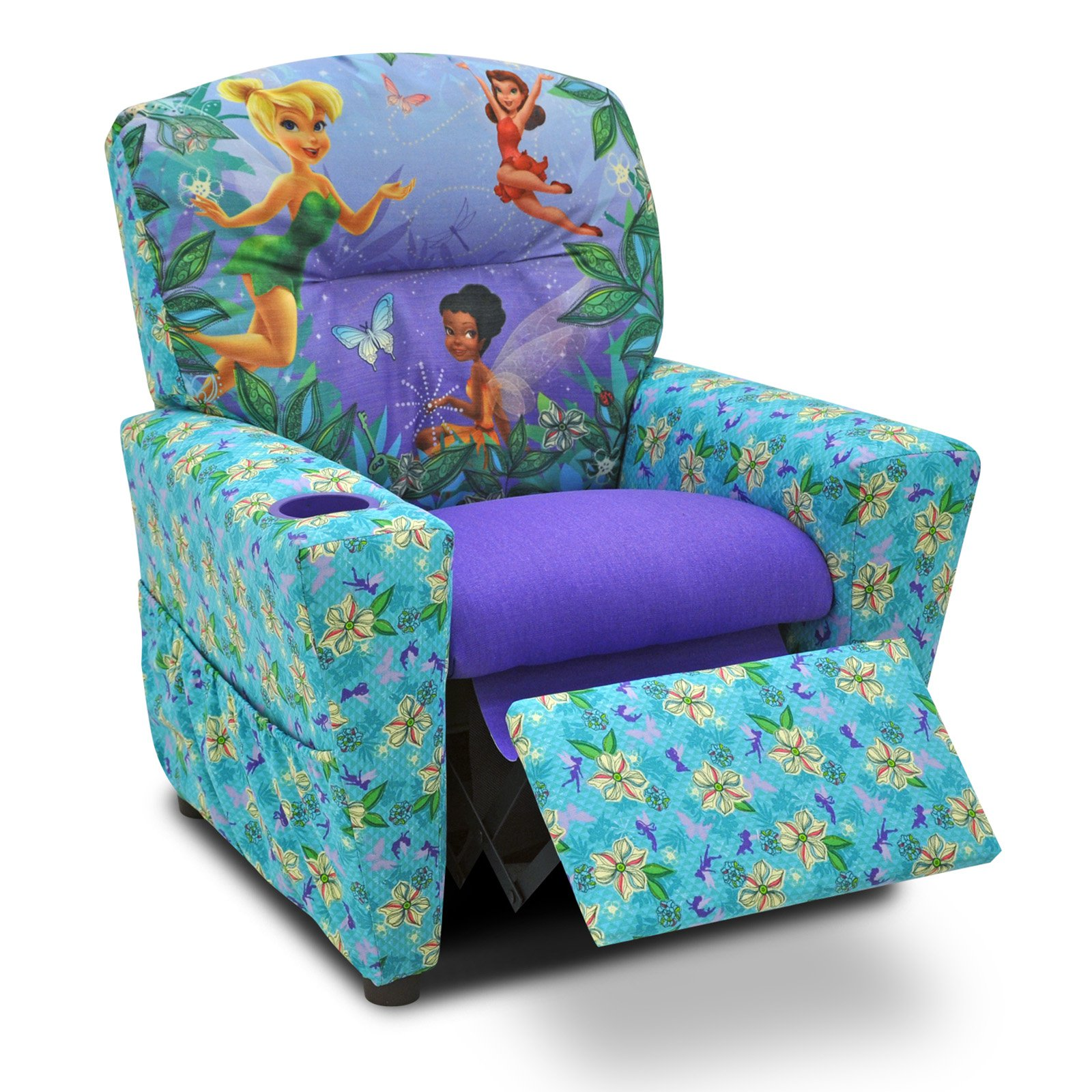 Disney Fairies Floral Blue & Purple Childrens Recliner
