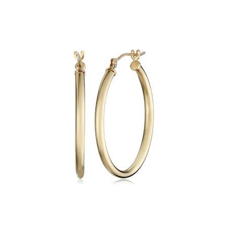 Eternity Gold 25 mm Polished Hoop Earrings in 10kt Gold Eternity Hoop Pierced Earrings