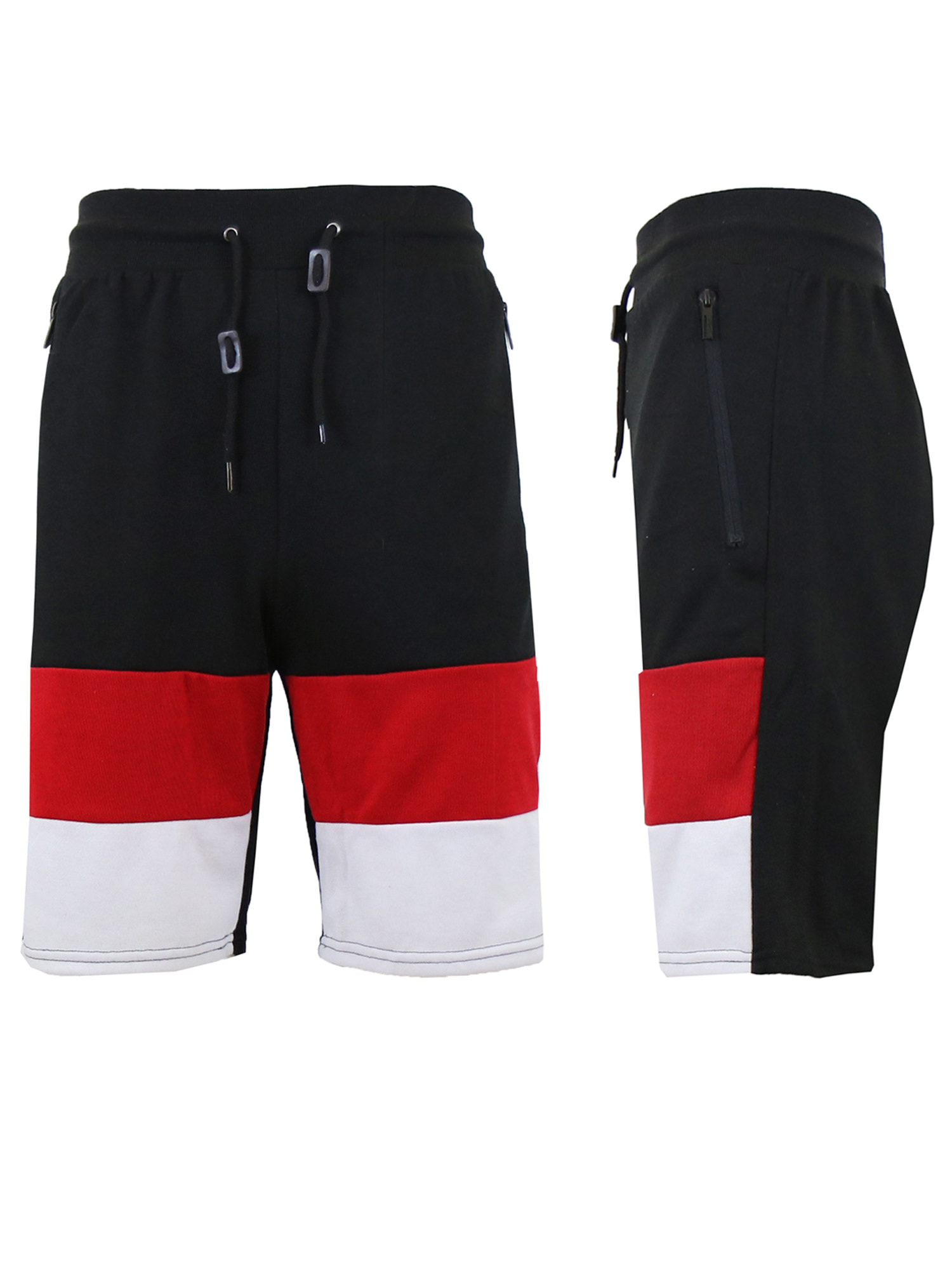 Mens Flat Front Sweat Shorts With Side Zipper Pockets ...