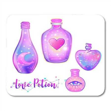 Halloween Jars Potions (LADDKE Magic Potion Blue Bottle Jar Pink Moon Crystals Heart All Mousepad Mouse Pad Mouse Mat 9x10)
