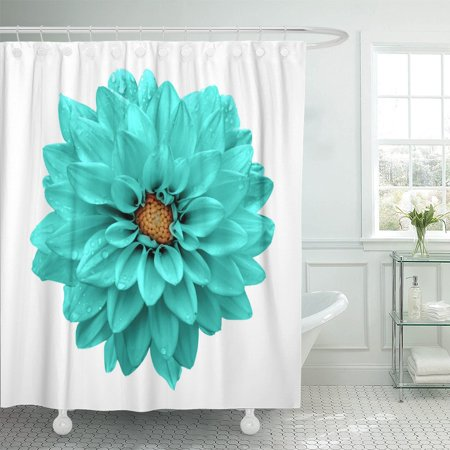 PKNMT Green Beauty Turquoise Flower Dahlia Macro White Blue Plant Shower Curtain 60x72 inches ()