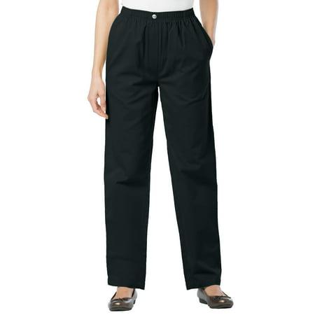 Woman Within Plus Size Elastic-waist Cotton Straight Leg Pant (Rain Pants For Woman)